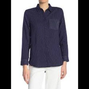 MADEWELL Navy & White Striped Button Down Shirt